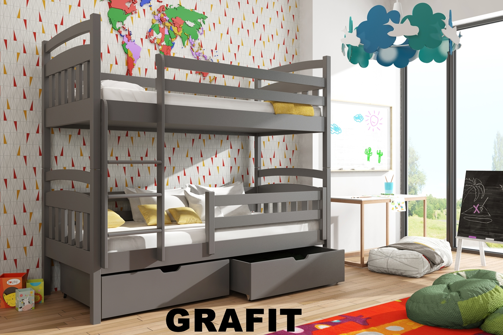 f8cf5461c920 Patrová postel Gábi 90x200 cm s úložným prostorem borovice masiv GRAFIT  empty